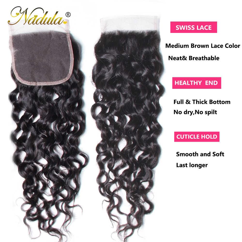 Nadula, extensiones de cabello brasileño con ondas al agua con cierre, 3 manojos con cierre de encaje, mechones de cabello humano postizo con cierre
