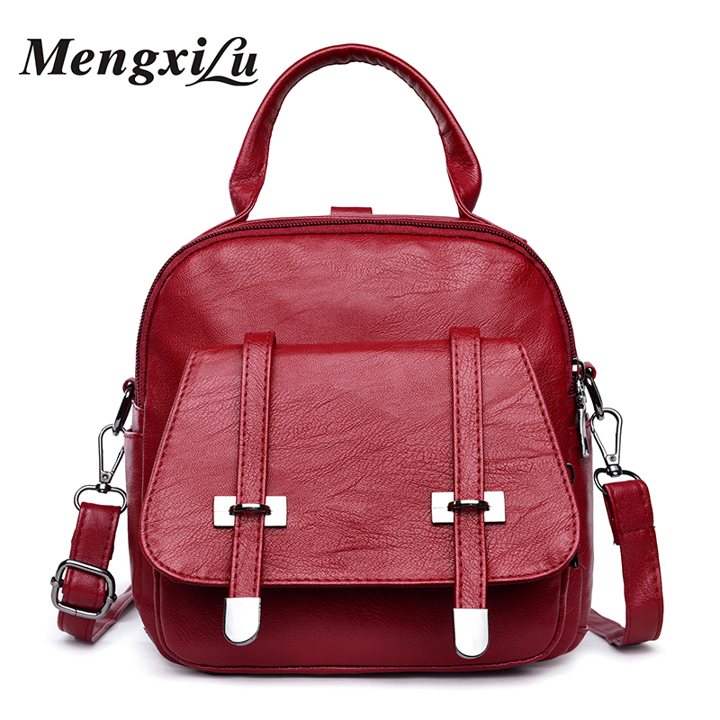 MENGXILU New Soft Women Backpack Designer Women Bags High Quality School Bags For Teenage Girls Fashion Women Pu Leather Bags forsining full calendar tourbillon auto mechanical mens watches top brand luxury wrist watch men erkek kol saati montre homme