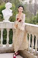 2017 Autumn Women Sissi Princess French Rustic Print Fancy Vintage Lace Print Royal Dress