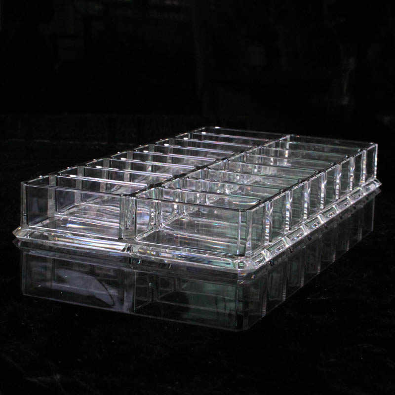 New Style Acrylic 16 Slots Double Powder Storage Box Transparent Makeup Organizer Eyeshadow Blush Sample Display Shelf Box Case
