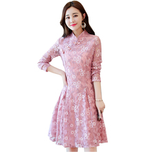 39c7460aa Vintage Stand Lace improved cheongsam Dress Long Sleeve Print Flowers Thick  Ethnic style Slim A word