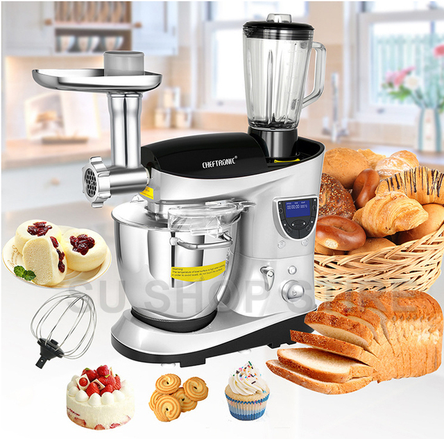 CHEFTRONIC 4 In 1 Multifunction Kitchen Stand Mixer SM 1088, 1000W 7.4QT Precise Heat Stainless Mixing Bowl with Meat Grinder B