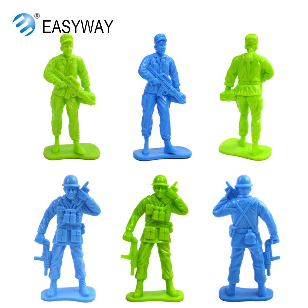 EASYWAY 1/18 Plastic Soldier Military Toys Mini Soldiers Action Figure Children Classic Toys Solid Model Set Gun DIY 12 Pcs/lot