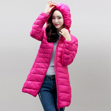 Autumn and winter The New Light and thin Long section Slim Hooded Large size Down jacket
