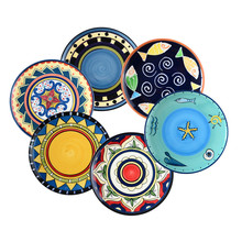 Western Dining Room Modern Decoration Coloured Drawing Fine Ceramic Decorative Wall Plate Christmas Gift Present
