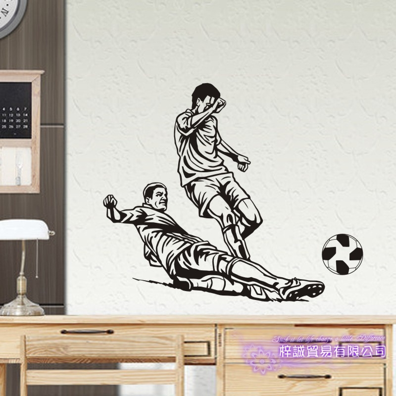 DCTAL Football Player Sticker Football Game Soccer Decal Helmets Kids Room Posters Vinyl Wall Decals F9