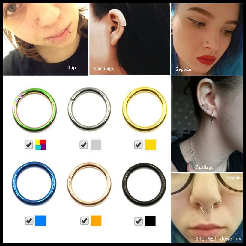 1PC G23 Titanium Hinged Segment Nose Septum Clicker Ring Ear ...