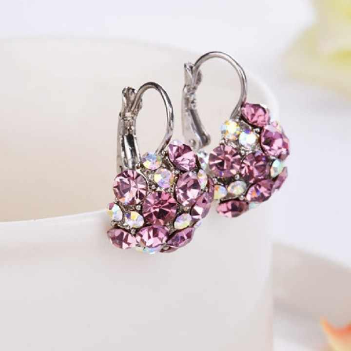H:HYDE Gold Color Romantic Crystal Flower Hoop Earrings Fashion Wedding Earrings For Women Jewelry oorbellen