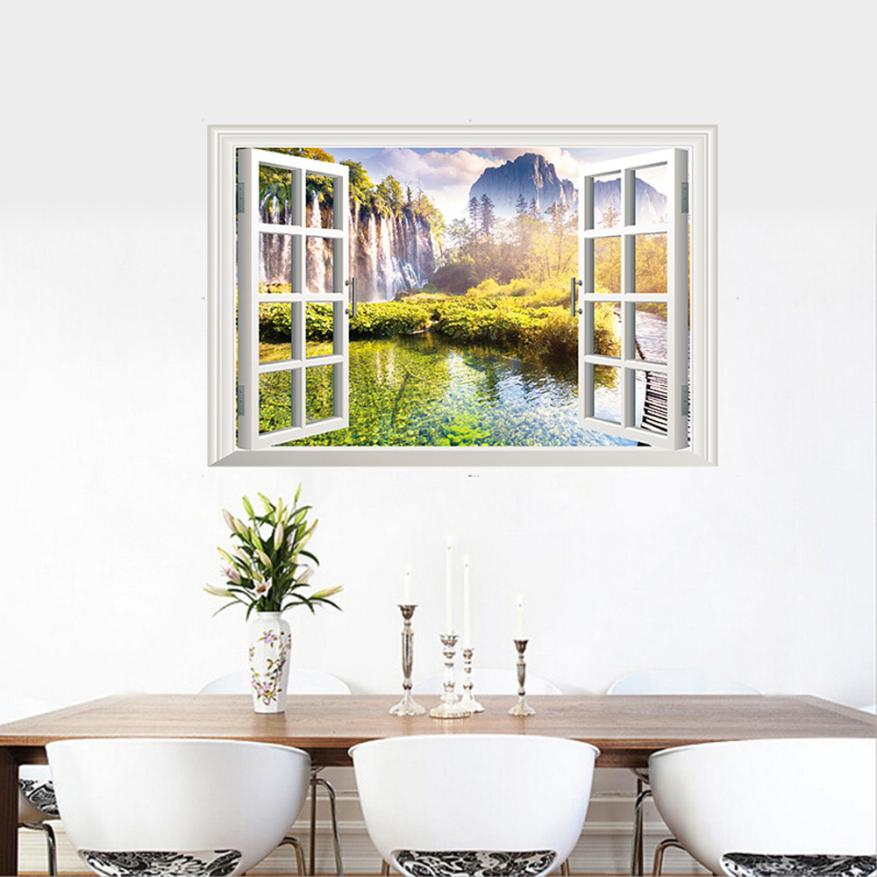 Home Decor 3D Window View Art Home Decor Wall Sticker Wallpaper Wall Decals Mural wall sticker Home Deco mirror AU9