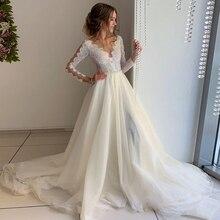 ภาพลวงตา Tulle Scoop คอ Organza Ivory งานแต่งงานลูกไม้สีขาวไข่มุกเข็มขัด Sweep Train ชุดเจ้าสาว Vestido de novia