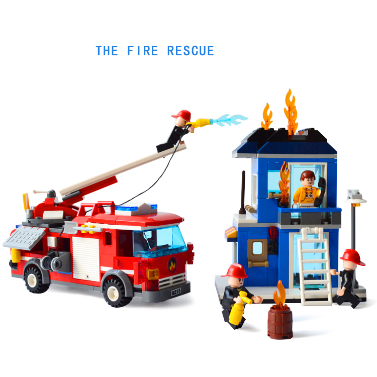 ФОТО Hot fire rescue engine truck building block fireman figures bricks compatible withlego.city educational toys for kids gifts