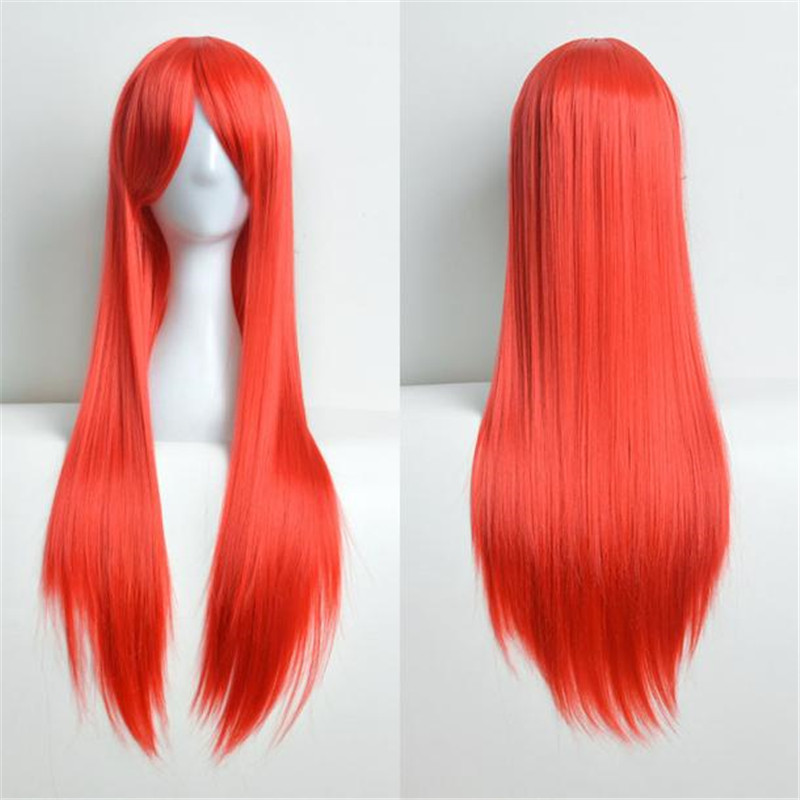 80cm Full long wigs for women Long Straight Wig Cosplay Party Costume Hair wigs front lace 52223A