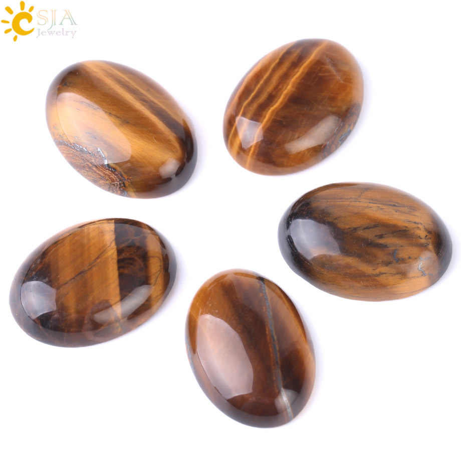 CSJA 1PC Yellow Tiger Eye Cabochon Bead Natural Stone CAB No Hole Fit DIY Handicrafts Reiki Jewelry Women Men Ring Bracelet F512