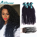 Peruvian Deep Wave With Closure 4 Bundles Rosa Hair Products Peruvian Virgin Hair Deep Curly Human Hair With Lace Closure