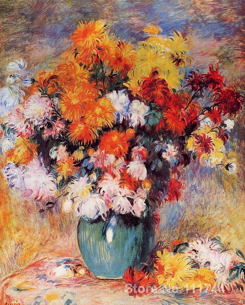 Best impressionist painting Vase of Chrysanthemums Pierre Auguste Renoir artwork High quality Hand paintedBest impressionist painting Vase of Chrysanthemums Pierre Auguste Renoir artwork High quality Hand painted