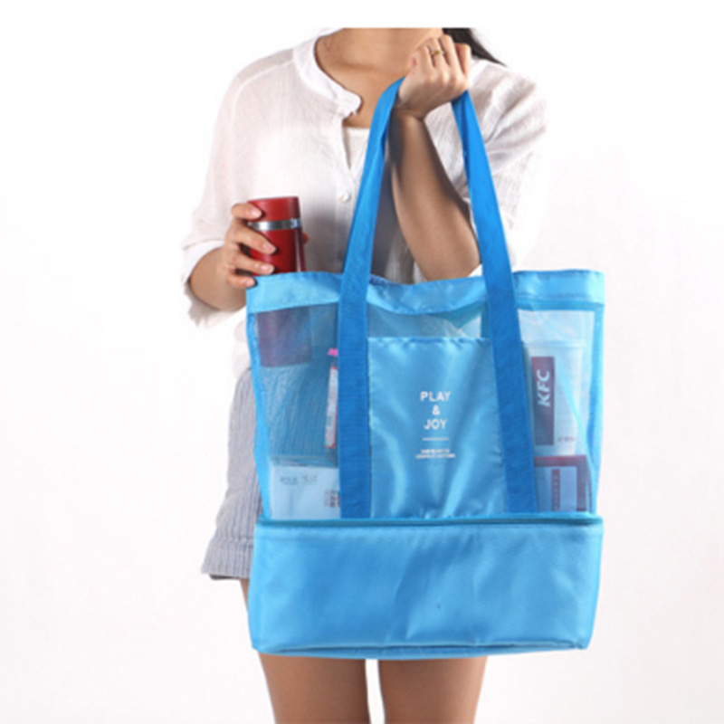Thermal Insulation Bag Handheld Lunch Bag Insulated Cooler Picnic Bag Mesh Beach Tote Bag Food Drink Storage Case