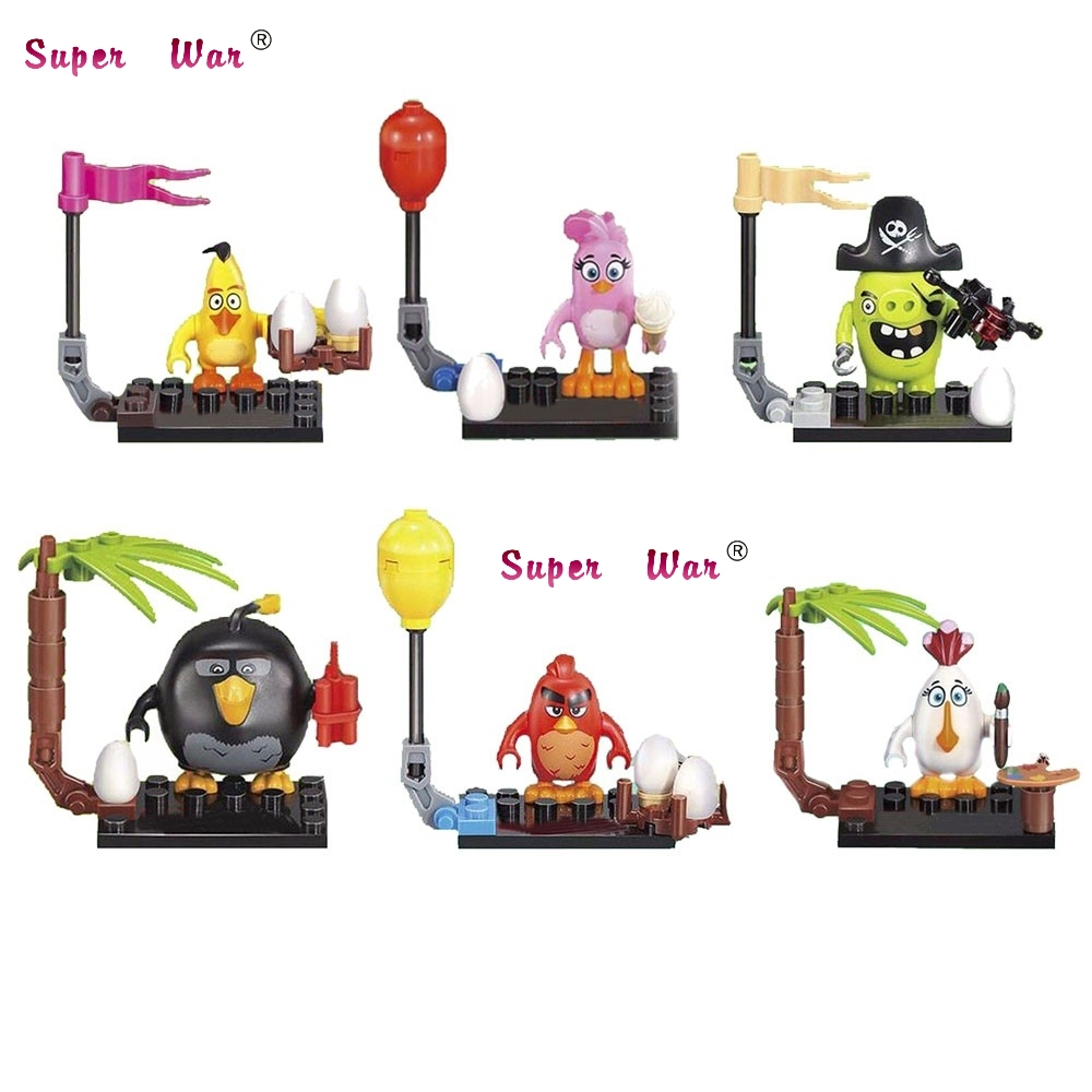6pcs star wars super heroes marvel Birds Cartoon Cute Crazy Movie building blocks action model bricks toys for children