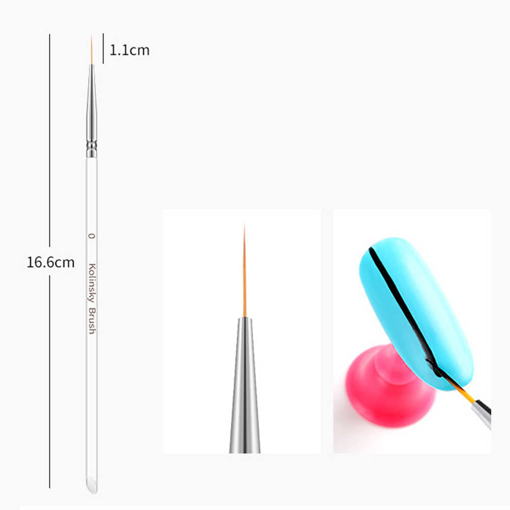 3 puntas 3piezas DIY uñas arte cristal acrílico fino pintura pluma rayas flor 2 lados acrílico UV Gel cepillos dibujo Kits
