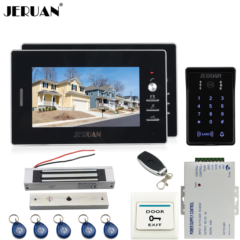JERUAN Home 7`` TFT video door phone intercom system Kit 2 house RFID waterproof touch key password keypad access camera jeruan wired 7 touch key video doorphone intercom system kit waterproof touch key password keypad camera 180kg magnetic lock