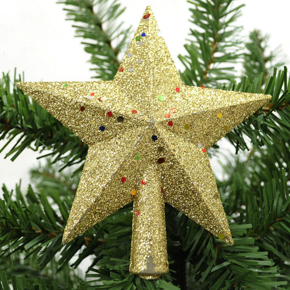 Gold star ornaments - 14cm Shinny Sequins Gold Top Stars Christmas Tree Decoration Xmas Party Hanging Ornament Decor China