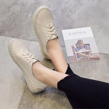 Retro women's single shoes spring and autumn leather pregnant women soft models wild casual shoes 2019 latest fashion 2018 spring autumn models wild black casual jeans