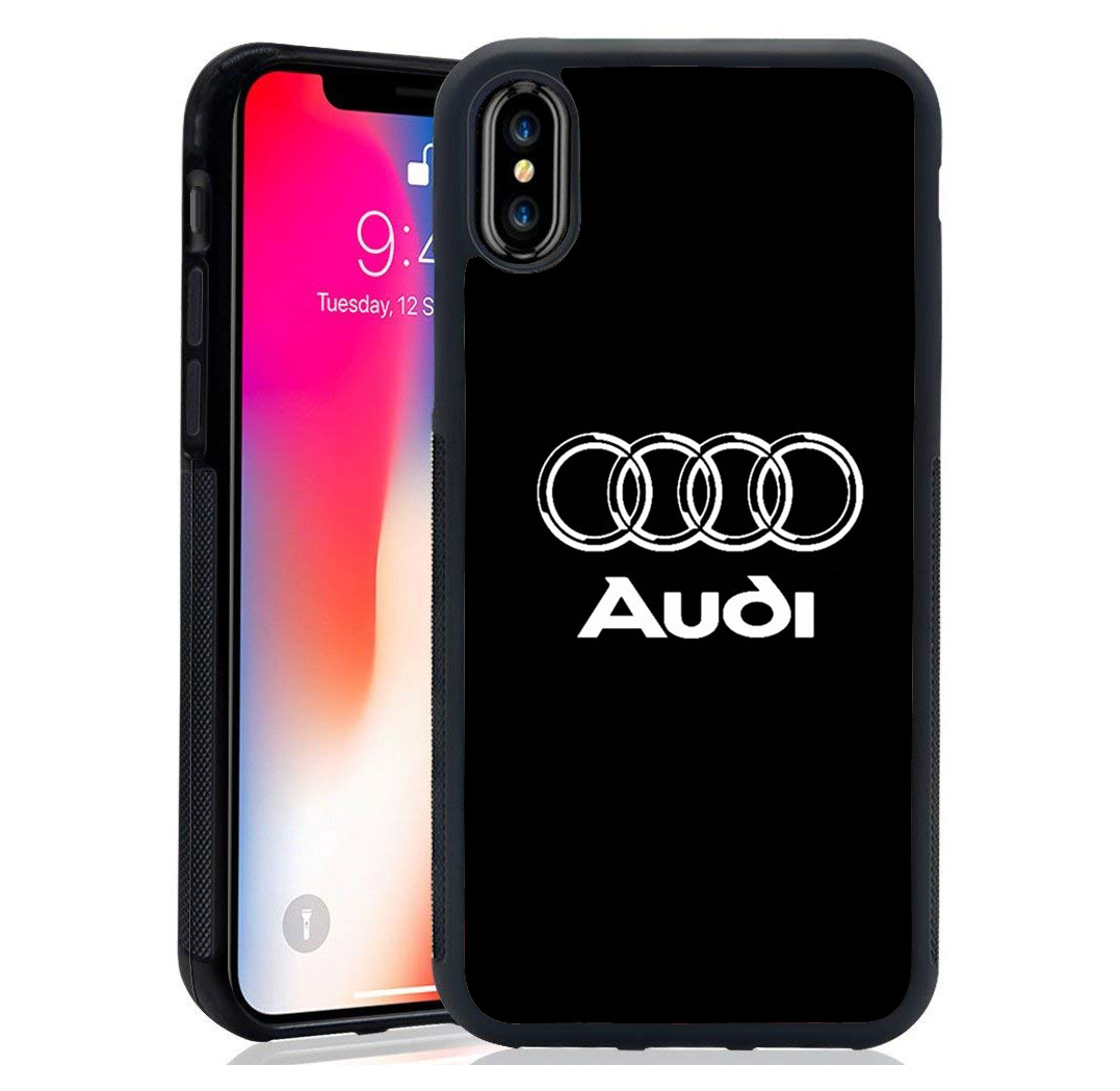 luxury tpu+Tempered Mirror shell silm Audi Series logo design case For iPhone XS Max XR 8 7