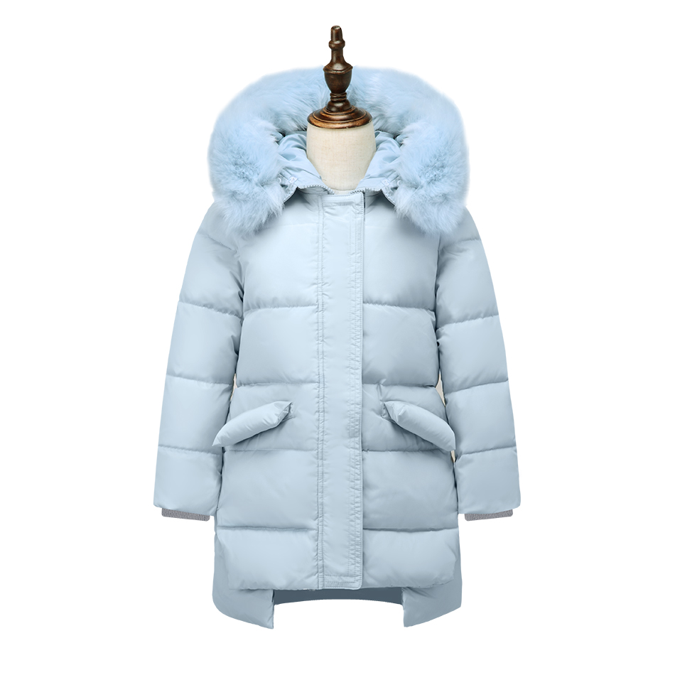 XYF8811 Girls Kids Winter Down Jackets Blue Long Sleeve Winter Jacket Coat Warm Outerwear 6-12Y Long Coat 85% White Duck Down active long sleeve blue and white women s crossover playsuit