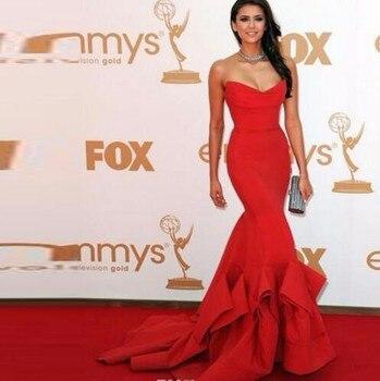 Red 2019 Formal Celebrity Dresses Mermaid V-neck Satin Backless Sexy Long Evening Dresses Famous Red Carpet Dresses