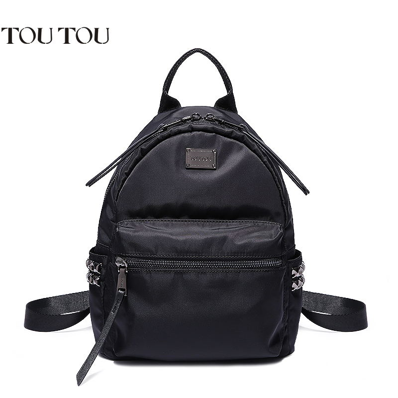 TOUTOU backpack Travel ultralight Oxford cloth rivets adornment fashion black backpack The high Quality guarantee free shipping martinez g the oxford murders