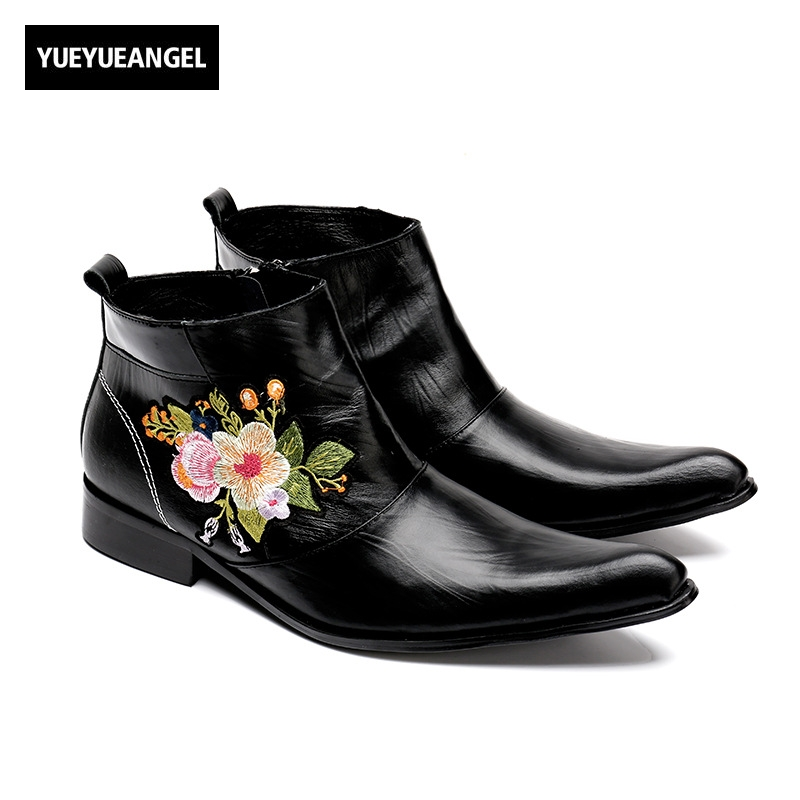 Trend Cool Men Genuine Leather 2018 New Designer Style Embroidery Ankle Boots Men Side Zipper Pointed Toe Black Large Size 37-46