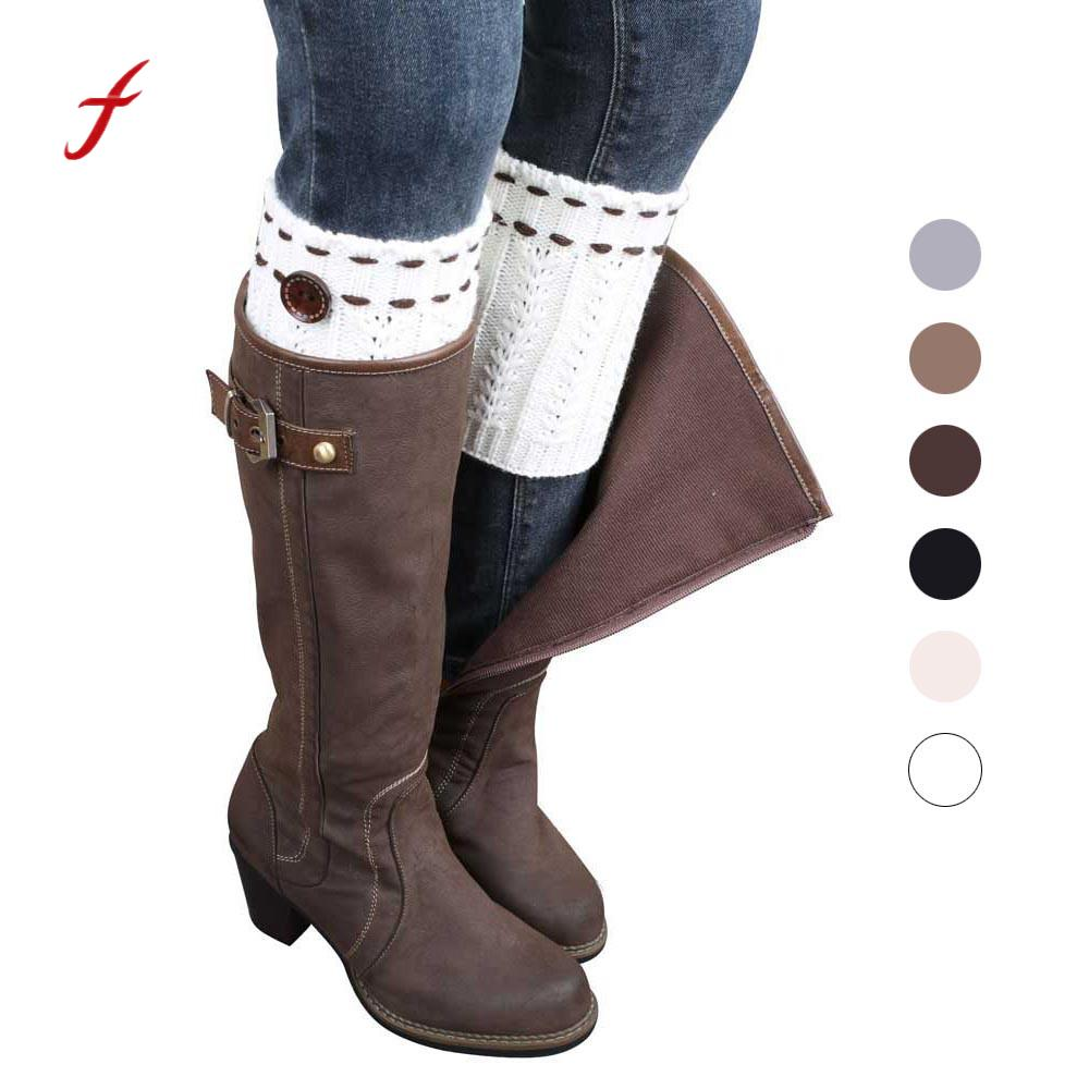 1 Pair Socks Boot Cuffs Knit Leg Warmers Knitted Socks Boot Cover Covers With Ball Crochet Leg Warmers Fashion
