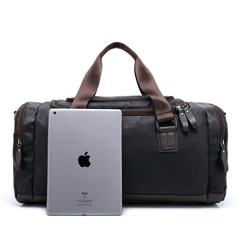 Toppkvalité Casual Travel Duffel Bag PU Läder Män Handväskor Stor - Väskor för bagage och resor - Foto 3