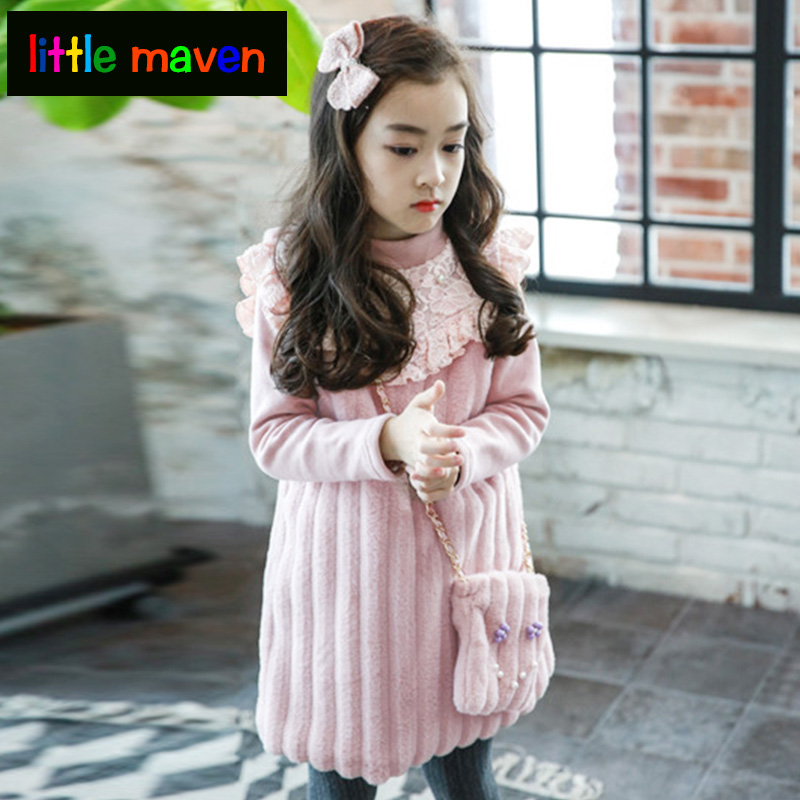 Autumn Winter Dress+ Bag 2pcs for Girls Princess Lace Dresses 2-8 Yrs Baby Girl Clothes Toddler Girl Clothing for Wedding Party toddler girl princess dress flower kids dresses for baby girls clothes dresses for party and wedding clothing 13 color choose