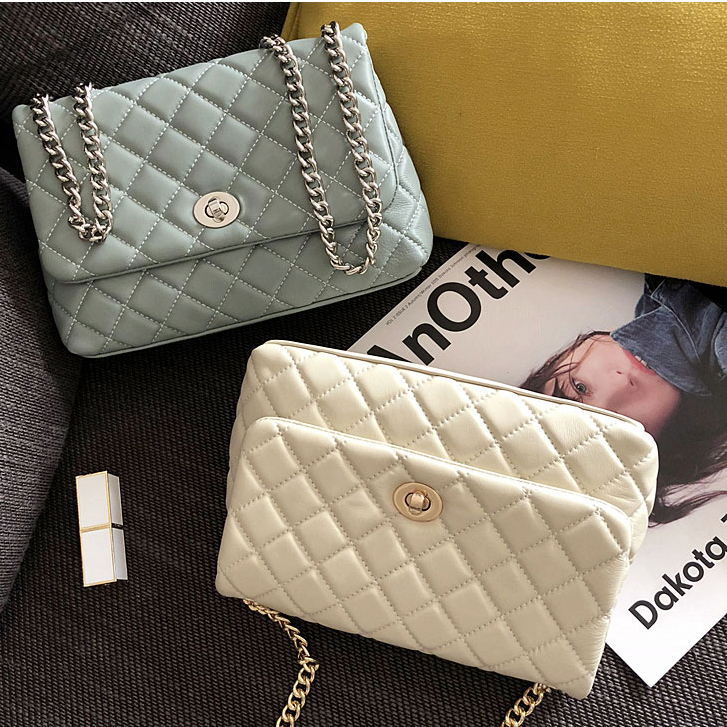 [Hely Coptar]Spring Summer 2018New Style Simple Mint blue Lamb Leather Korean Chain Flap Bag Women Shoulder Across Small Package