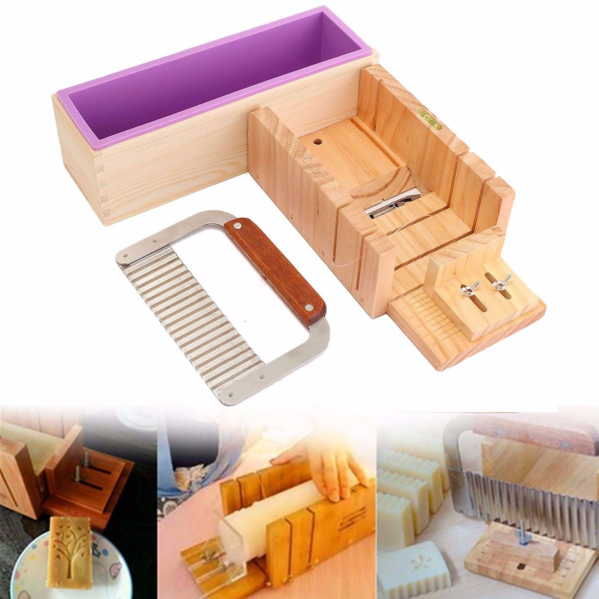 Wooden Soap Loaf Bar Cake Cutter Box With Silicone Soap Molds Wavy Straight Cutter Slicer DIY