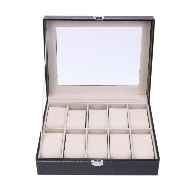 Fashion 10 Grids PU Leather Watch Boxes Storage Organizer Box Luxury Jewelry Ring Display Watch Case Black Display Case Box 2018 carbon fiber watch box with glass fashion black pu leather watch storage boxes new watch and jewelry gift display case