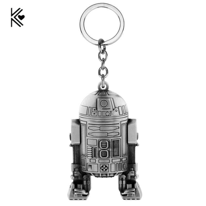 Star wars chaveiro de alta qualidade a força desperta chaveiro liga r2 d 2 robô anime dos desenhos animados coleção llavero chaveiro