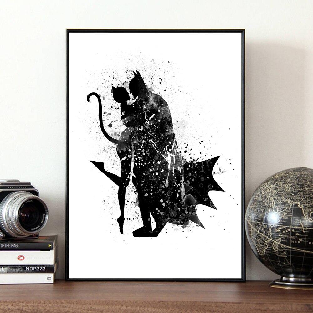 Acuarela original Batman y la mujer del gato pop película impresión ...