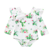 ab49dbd49 (Ship from US) Baby Clothes 2019 Fashion Infant Toddler Baby Boys Girls Cactus  Print Ruffles Romper Outfits roupas infantis menina inverno#40py