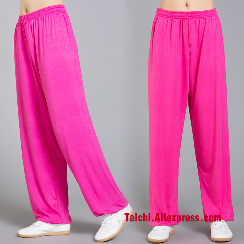 Modal Tai Chi Pants Woman And Man Wu Shu Pants Spring And Summer Martial Art Yoga Pants Bright Color