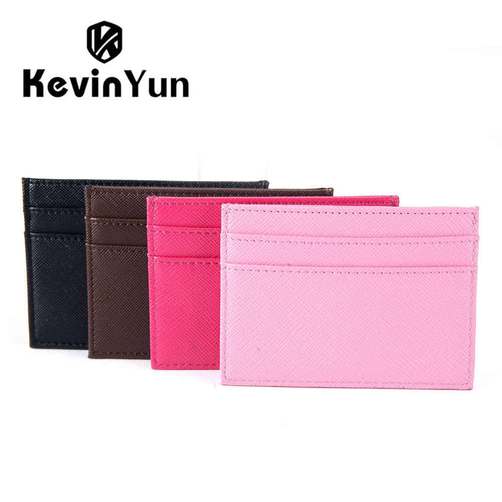 KEVIN YUN Designer Brand Fashion PU Leather Women Card Holder Mini Pocket Credit Card Case