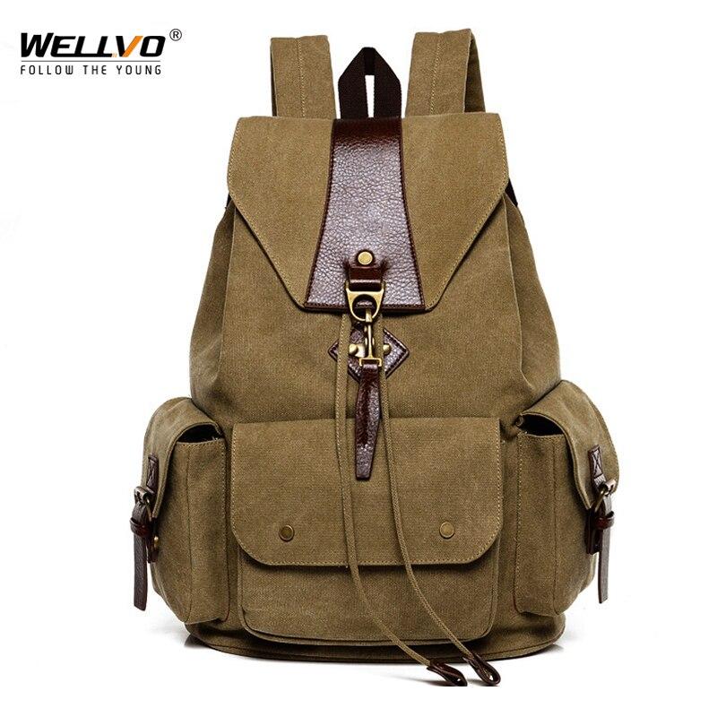 Men's Canvas Drawstring Backpacks School Bag Vintage Leather Patchwork Rucksack Male Large Capacity Travel Shoulder Bags XA2213C недорого