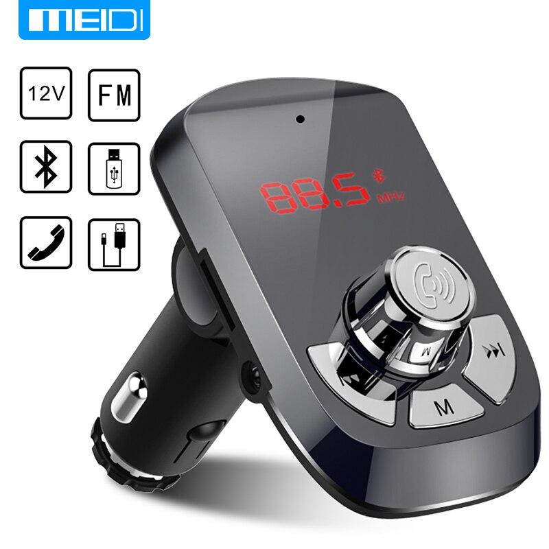 MEIDI Carregador Do Carro Transmissor FM Sem Fio Bluetooth Car Kit Mãos Livres MP3 Jogador Dual USB Carregador de Carro AUX
