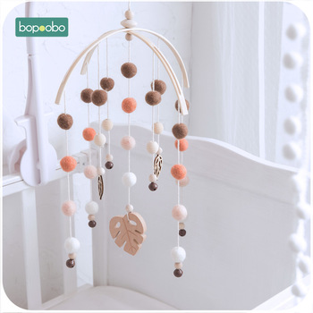 Bopoobo 1set Silicone Beads Baby Mobile Beech Wood Bird Rattles Wool Balls Kid Room Bed Hanging Decor Nursing Children Products 1