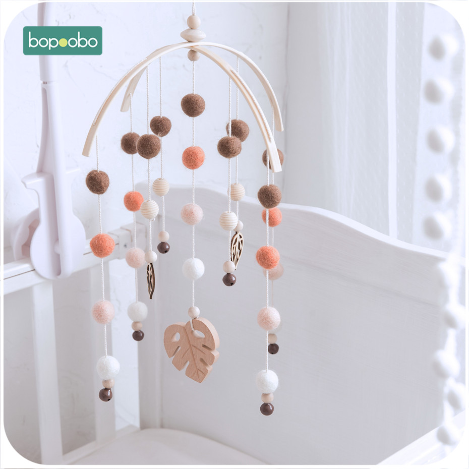 Bopoobo 1 Set Silicone Beads Baby Mobile Beech Wood Bird Rattles Wool Balls Kid Room Bed Hanging Decor Nursing Children Products