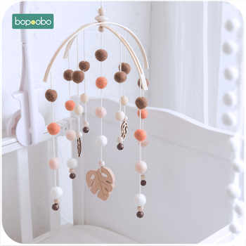 Bopoobo 1set Silicone Beads Baby Mobile Beech Wood Bird Rattles Wool Balls Kid Room Bed Hanging Decor Nursing Children Products - DISCOUNT ITEM  30 OFF Toys & Hobbies