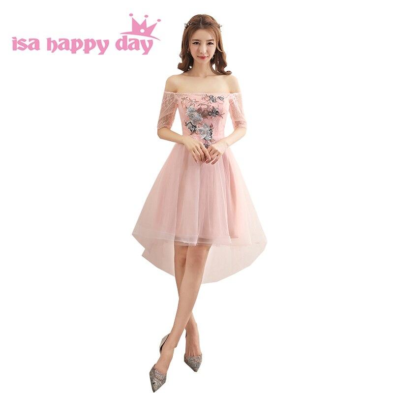 teen elegant short adult formal off shoulder light pink   bridesmaid     dresses     bridesmaids     dress   high low for wedding party H4256