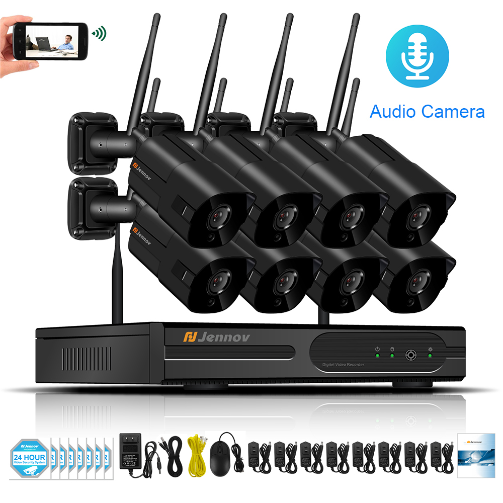 8CH Audio Record Wireless NVR HD Outdoor Home Security Camera System CCTV Video Surveillance Kit NVR 960P Wifi Camera Set 8ch cctv kit 960p home wireless cctv security camera system with nvr hd wifi video outdoor surveillance kit app remote view