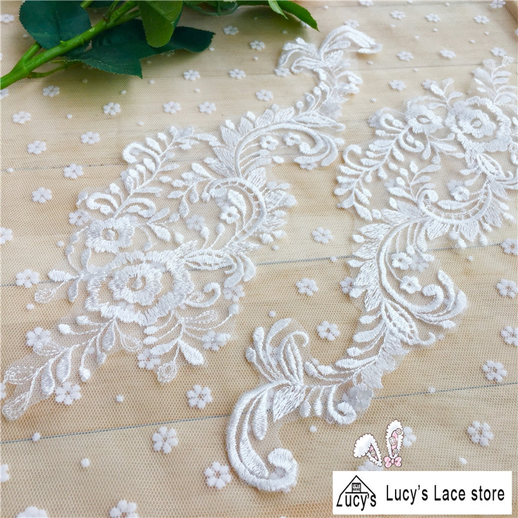 Plain embroidered tulle lace patches in light ivory color for bridal gowns sewing wedding veils DIY 10 pieces NEW!