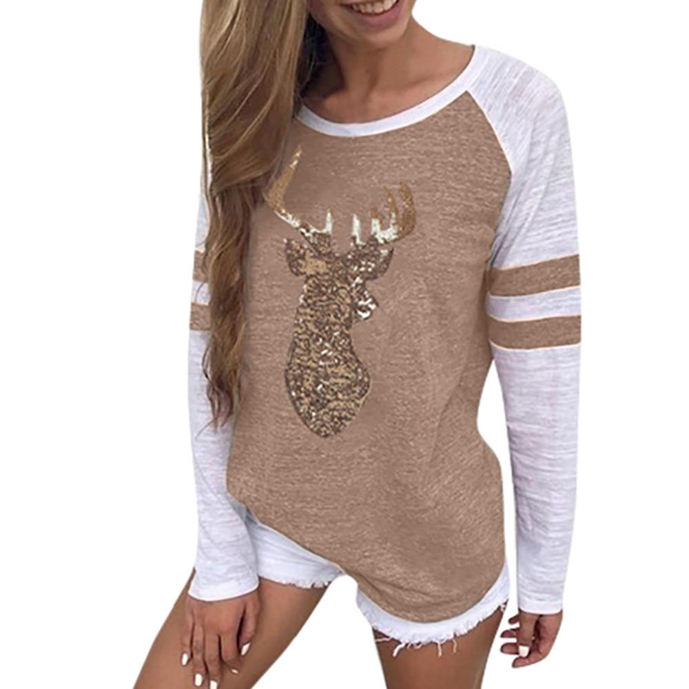 Christmas Tops.Us 5 01 15 Off Plus Size Christmas Tops Women T Shirt Elk Print Xmas Long Sleeve Happy Tops T Shirt Winter Female Roupas Feminina 415 In T Shirts